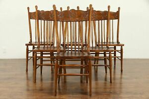 Set Of 6 Victorian Antique Press Back Carved Oak Dining Chairs 30884