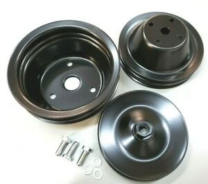 Sbc Small Block Chevy 2 Groove Black Steel Long Water Pump Pulley Kit 327 350