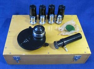 Lomo Phase Contrast Microscope Set Kf 4 Condenser Objective Eyepiece Filter