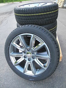 22 New Chevrolet Suburban Tahoe Gray Chrome Wheels Bridgestone Tires 5696 Cap
