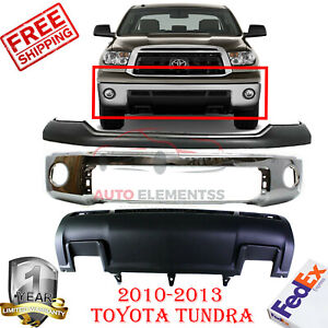 Front Chrome Bumper Upper Cover Lower Valance For 2010 2013 Toyota Tundra 3pc