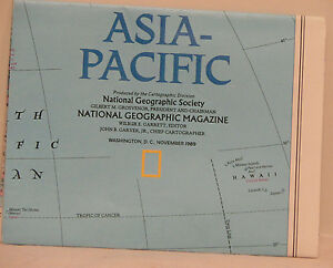 Vintage 1989 National Geographic Map Of Asia Pacific