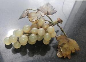 Naturalistic Antique Hand Carved Natural Alabaster Grapes With Stone Leaves