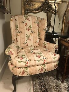 Queen Anne Style Williamsburg Chippendale Mahogany Wing Chair W Xtra Slipcover