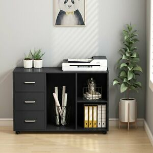 Tribesigns Large Modern 3 Drawer Wood File Cabinets With Open Storage Shelves Us