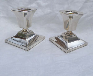 Sterling 950 Pair Silver Candle Holders Vintage Japan Silver