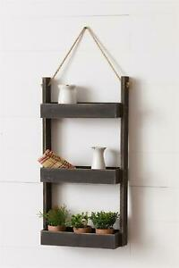 Country New Hanging Distressed Black Wood Shelf
