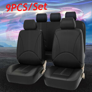 9x Black Universal Car Seat Cover Front Rear Back Seat Waterproof Mat Protector