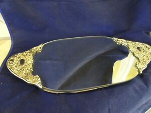 Godinger Silver Art Co Vintage Vanity Dresser Mirrored Oval Tray Footed
