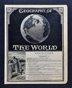 1882 Mcnally Map Geography Of The World Frontispiece Globe Earth Definitions
