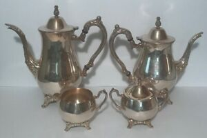 Oneida Silver Plate 4 Piece Tea Coffee Set With Creamer And Sugar Bowl
