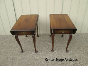 58722 Pair Statton Warfield Mahogany Dropleaf End Table Stands