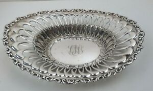 Antique 1909 Whiting Sterling Silver Openwork Repousse Oval Bowl 8 25 By 6 5