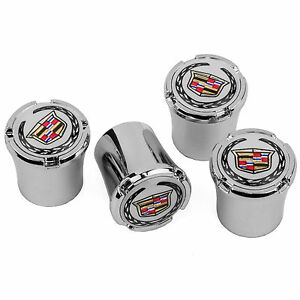 Cadillac Crest Wreath Logo Chrome Tire Valve Stem Caps Made In Usa