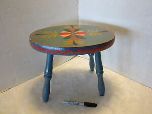 Vintage Hand Painted Folk Wood Oval Stool Pa Dutch Floral Signed Mn Blue 13 Wide