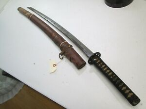 Old Japanese Samurai Sword Katana Unsigned With Scabbard Old Long Blade T55