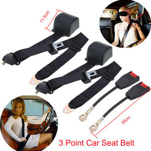 2pcs Universal Adjustable 3 Point Retractable Auto Car Seat Lap Belt Kit Black