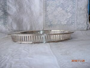 English Silver Mfg Corp Pierced Tray Silverplate Serving Tray Oval 11 Vintage