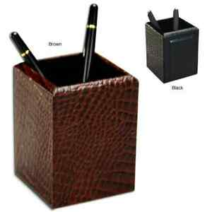 Dacasso 2000 Series Crocodile embossed Leather Pencil Cup