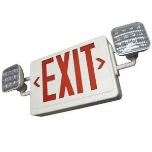 Led Exit Sign Emergency Light Combo Two Heads Red Remote