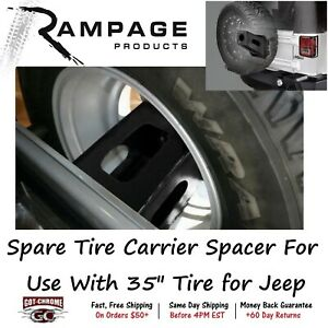 86610 Rampage Black Spare Tire Carrier Spacer For Use With 35 Tire For Jeep