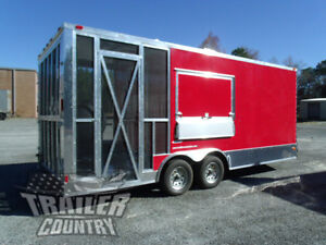 New 2020 8 5x20 V Nose Enclosed Cargo Concession Vending Trailer W Porch
