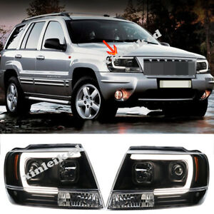 Hid Headlights For 1999 04 Jeep Grand Cherokee Front Bumper Led Bi xenon Lamps