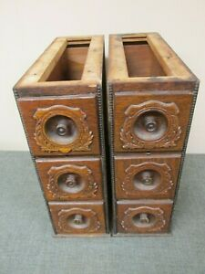 Antique Ornate Oak Singer Treadle Sewing Machine Frames 6 Drawers Set