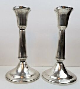 Pair Duchin Sterling Silver 7 Tall Candlesticks Candle Holders