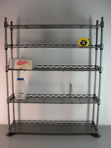 Steel Shelving Food Rack Adjustable Wire Metal Tool Shelf 24x6x30 Silver