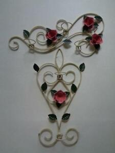 Lot Of 2 Tole Painted Floral Candle Wall Sconces 22 1 2 X 10 11 X 21 1 2