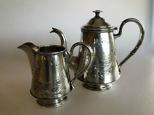 Russian 84 Silver Antique Small Teapot And Creamer Sterling Etched Scene Lovely