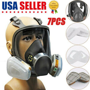 7pcs In 1 Full Face Mask For 3m 6800 Gas Painting Spray Protection Respirator Us