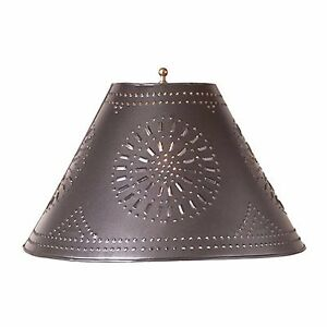 Country New Large 17 Punched Tin Smokey Black Flare Side Lamp Shade