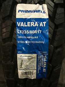 4 New Lt 235 80 17 Lre 10 Ply Primewell Valera A t Tires
