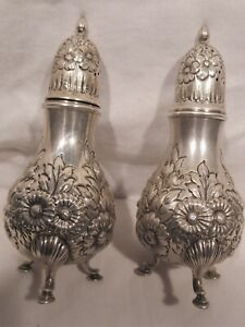 Gorham Large Footed Repousse A7107 Sterling Silver Salt Shaker Pair Victorian