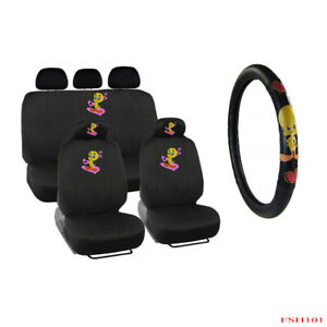 10pc Looney Tunes Tweety Bird Front Rear Car Seat Covers Steering Wheel Cover