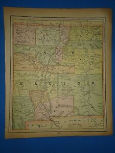 Vintage 1891 New Mexico Territory Map Old Antique Original Atlas Map 40219