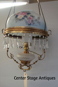 Col Lo Antique Victorian Oil Lamp With Hand Painted Shade Light Fixture