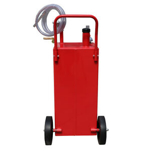 Heavy Duty 30 Gallon Gas Oil Diesel Fluid Caddy Transfer Tank With 8 Feet Hose