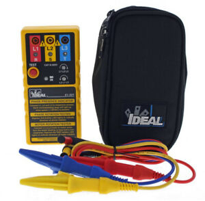 Ideal Electrician Rotation Tester 3 phase Sequence Case Indicator Lights