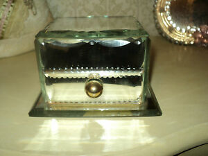 Antique French Etched Mirrored Cut Crystal Glass Jewelry Box Drawer