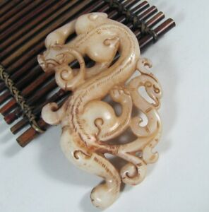 Certified Exquisite Hand Carved Dragon Phoenix Carving Hetian Jade Statue B814
