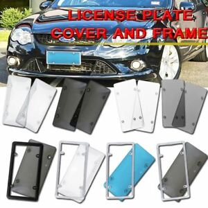 Zone Tech Smoked Clear License Plate Cover Frame Shield Tinted Bubbled Flat Car