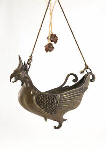 Early Chinese Bronze Hanging Phoenix Incense Burner Censer Archaic Style Qing