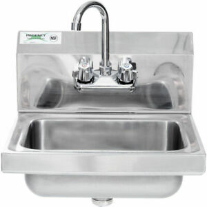 17 X 15 Hand Wash Sink W Faucet Commercial Stainless Steel Wall Mount Kit