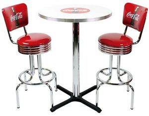 Coca-Cola Pub Table & Bar Stools w Backrest Coke
