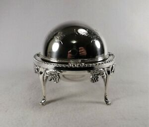 Antique Silver Plated Butter Dish Hand Engraved English Made Dome Shape