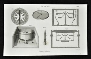 1859 Antique Print Maritime Nautical Ship Compass Binnacle Wind Rose Navigation