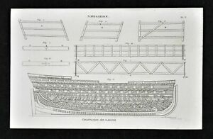 1859 Antique Maritime Print Shipbuilding Construction Design Nautical Navigation